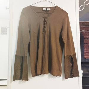 Duo Camel Brown Lace Up Bell Sleeve Cotton Top S M